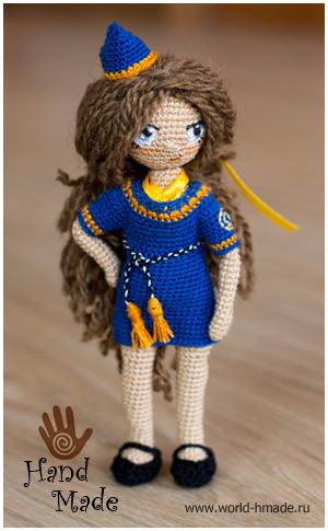 Куколка стюардесса Натали. Вяжем игрушку крючком.